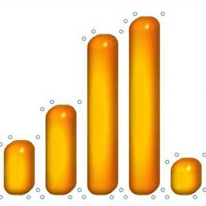 Glänzende 3D-Säulen mit Excel