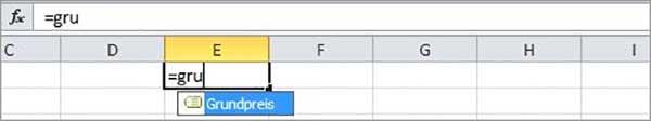 Excel - Formelnamen