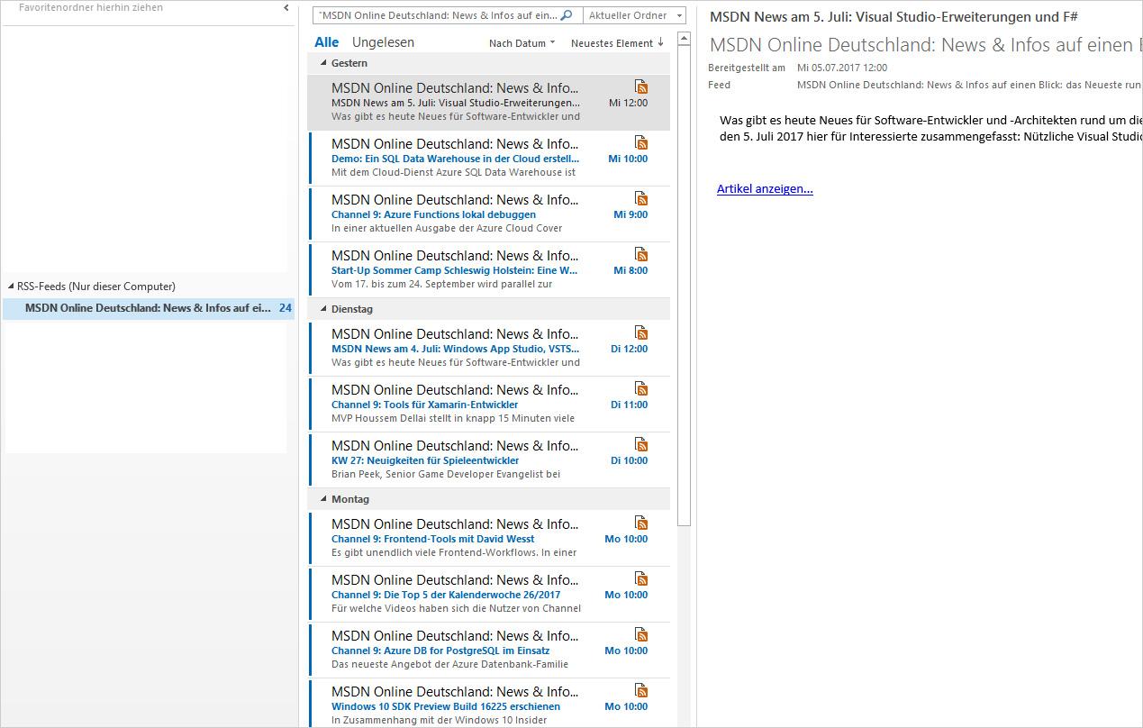 RSS Feeds in Outlook empfangen