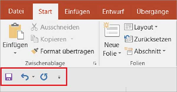 PowerPoint - Schnellzugriffsleiste