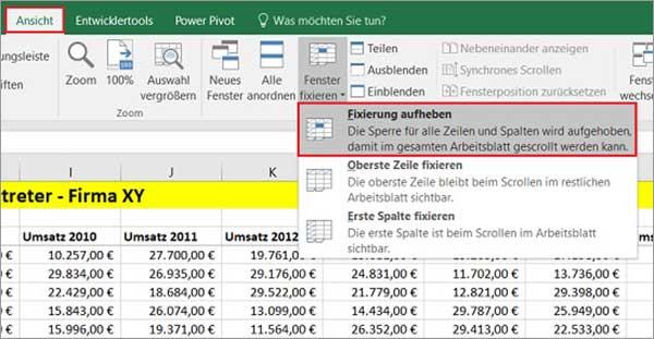 Excel - Überschriften fixieren