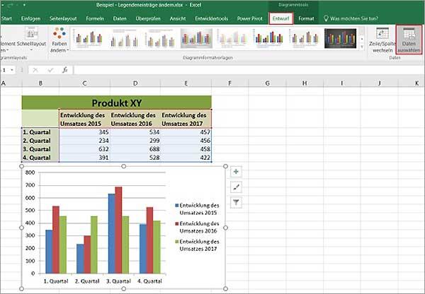 Excel - Legendeneinträge ändern