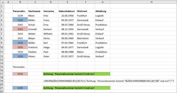 Excel Warnmeldung