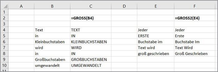 Excel Groß- und Kleinschreibung