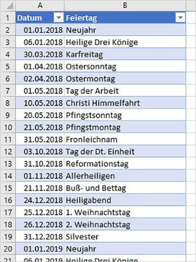 Excel Jahreskalender
