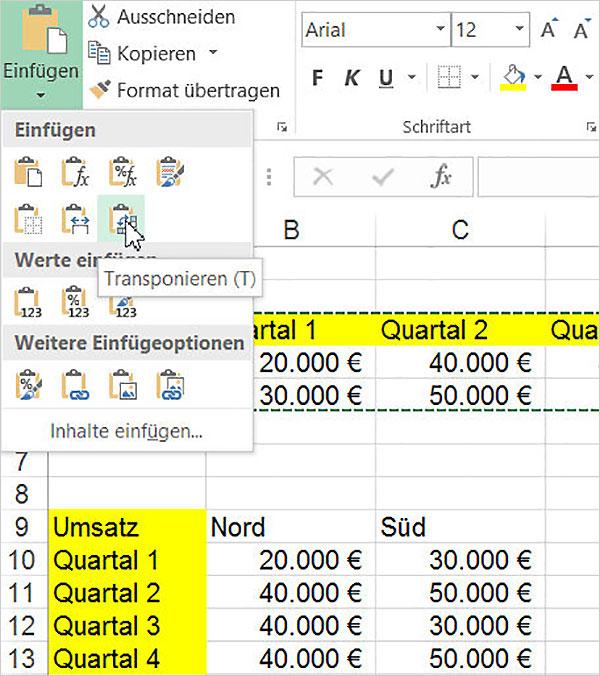 Excel: Zeilen zu Spalten machen - Transponieren | PCS Campus