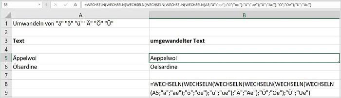Excel - Umlaute wechseln