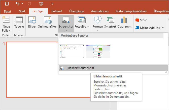 Öffnen Sie das Fenster, von dem Sie einen Ausschnitt in Ihre PowerPoint-Präsentation integrieren wollen. Wichtig ist, dass das Fenster nicht minimiert ist, sodass Sie später den gewünschten Bereich auswählen können. Durch Klicken auf das PowerPoint-Symbol in der Taskleiste gelangen Sie wieder zu Ihrer Präsentation.