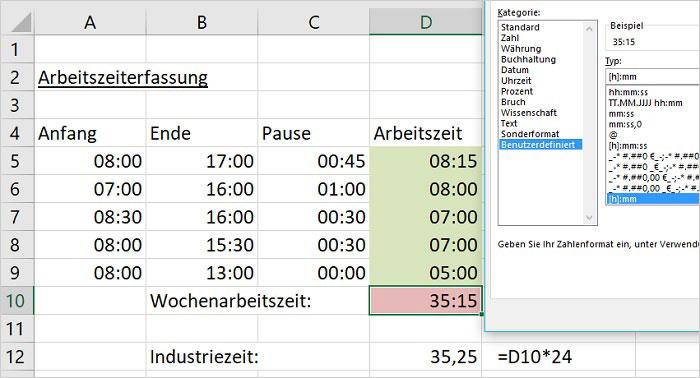 Excel – Rechnen mit Uhrzeiten