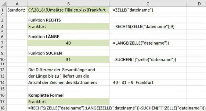 Excel: Name des Arbeitsblatts in einer Zelle anzeigen | PCS Campus