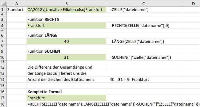 Excel Arbeitsblattname einfügen