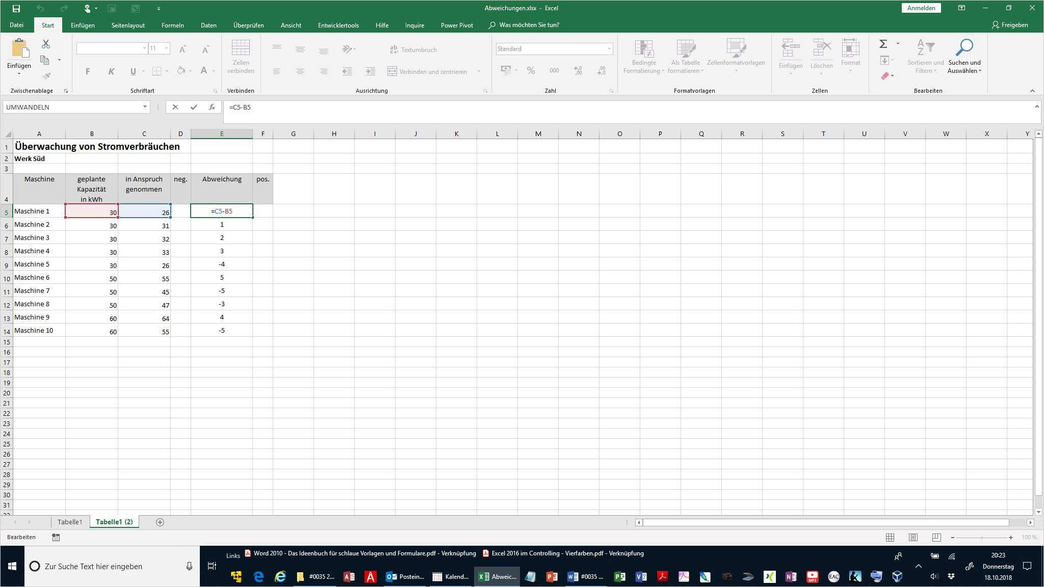 Excel Abweichungen grafisch darstellen