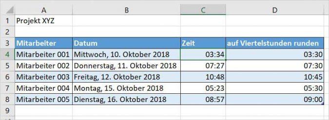 Excel - auf eine Viertelstunde runden
