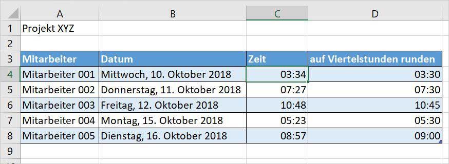 Excel – auf eine Viertelstunde runden