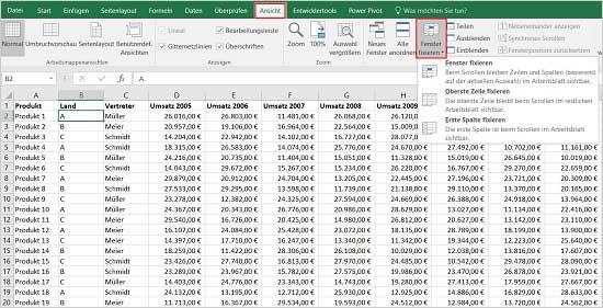 Excel spaltenbreite fixieren