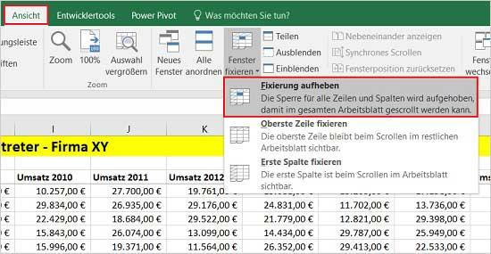 Excel - Zeilen und Spalten fixieren