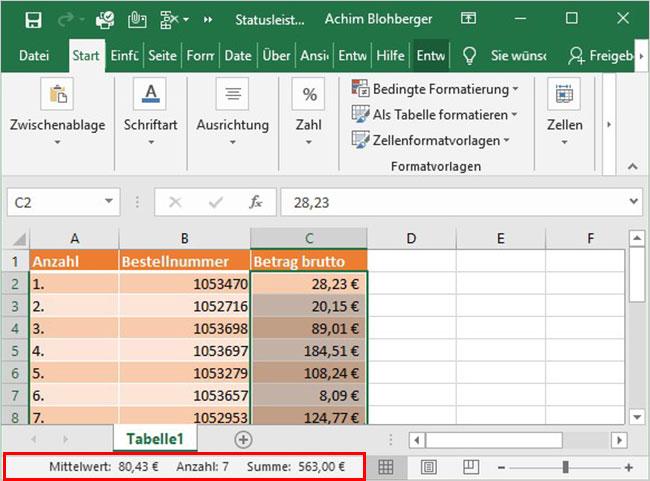 Excel Statusleiste anpassen