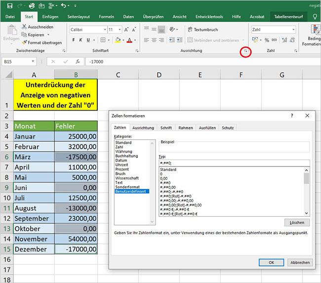 Excel Anzeige unterdrücken