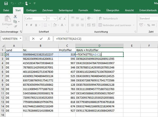 Excel – Textverkettung 1