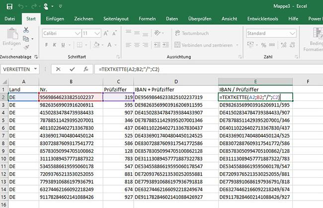 Excel – Textverkettung 2