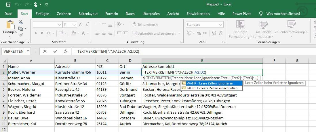 Excel – Textverkettung 3