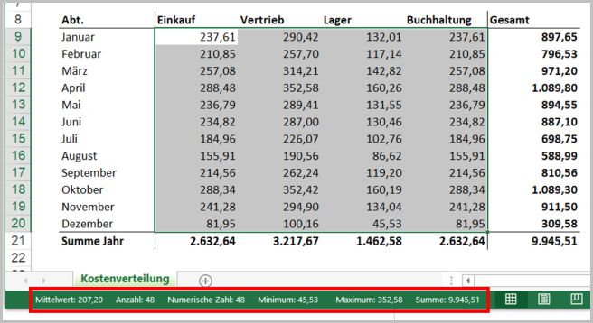 Statuszeile Excel