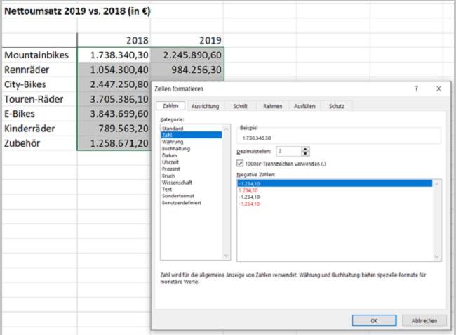 Excel- Zahlen in Millionen - Zellen formatieren