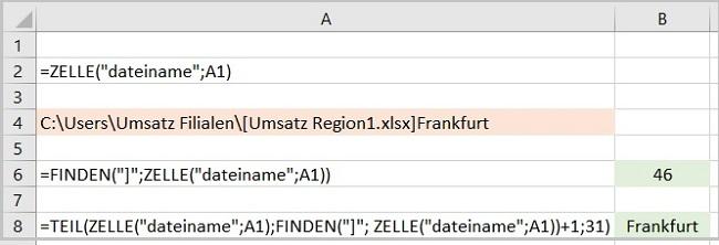 Excel - Blattnamen in Zellen einfügen