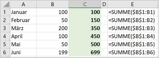Excel - Laufende Summen berechnen
