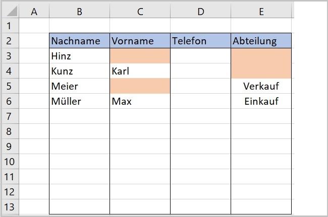 Excel - Pflichteingaben hervorheben