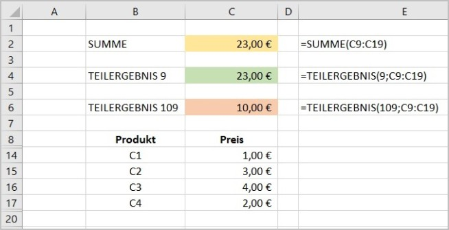 Excel - Funktion Teilergebnis 3