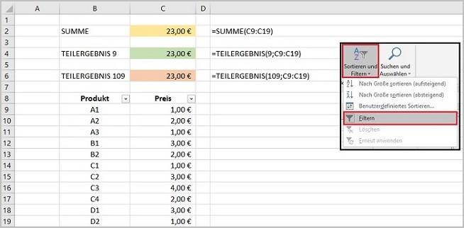Excel - Teilergebnisse 650 4