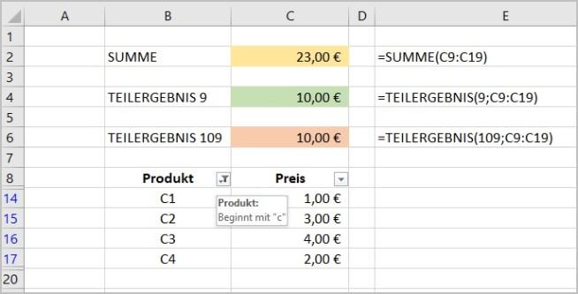Excel - Funktion Teilergebnis 5