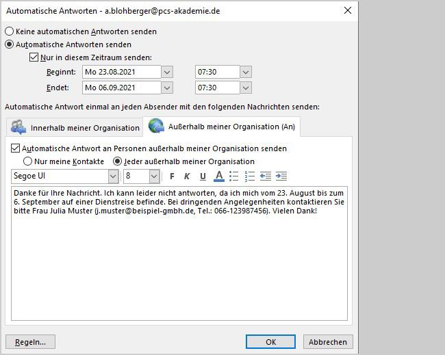 Outlook: Automatische Antwort bei Abwesenheit