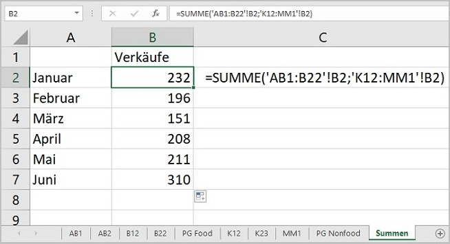 Excel - 3D Summen mit Platzhalter 04