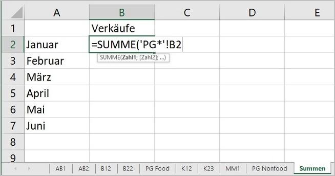 Excel - 3D Summen mit Platzhalter 05